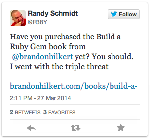 Tweet about Build a Ruby Gem