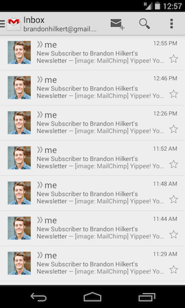 """My mailbox showing Mailchimp subscriptions"""